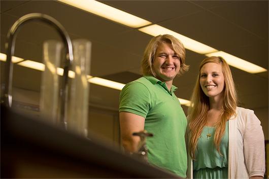 CSUF Pre-health postbacc medical alum Elizabeth Shuman and professor